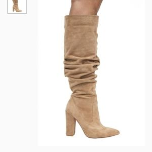 Nude Slouch Boots with Heel
